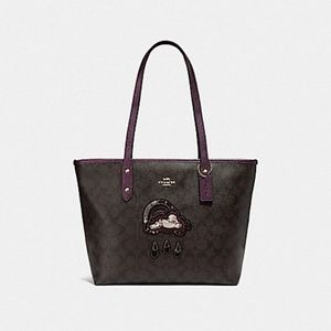 Coach CITY ZIP TOTE SIGNATURE CANVAS WITH GLITTER